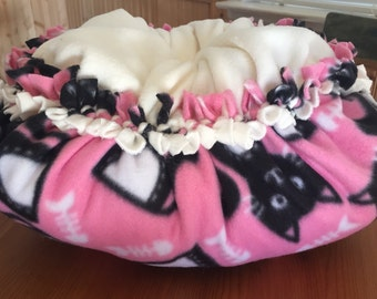 Cat fleece bed, kitten bed, plush fleece tie bed or pillow Black Cat