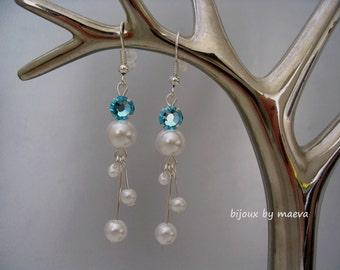 wedding jewelry white pearl pendant earrings and turquoise rhinestone