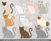 Cat Clip Art, Digital Cats Clipart, Pet Clipart, Cat Scrapbook, Kitten Clipart, Cat Breeds Clipart, Digital Kitties Clipart, Animal Clipart