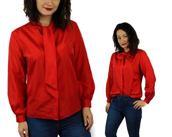 Bow tie blouse, Bow blouse, Red blouse, Vintage blouse, Ascot Bow tie shirt, Neck Tie Blouse, Long sleeves blouse, Work blouse 70s / Medium
