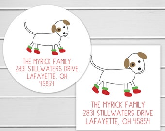 Christmas Address Stickers, Christmas Boots Dog Return Address Labels, Dog with Christmas Boots Envelope Seals  (#352)