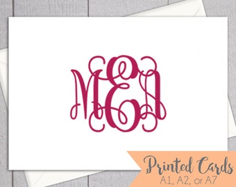 Monogrammed Folded Note Cards - 12pk, Initial Note Cards, Teacher Gifts, Monogram Printed Cards with Envelopes (NC14F)