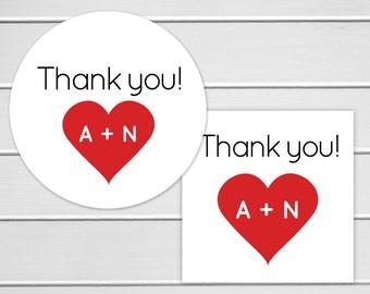 Thank You Wedding Sticker, Wedding Favor Stickers, Heart Wedding Labels (#185)