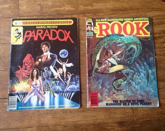 Comic Book Lot - Marvel Preview: Paradox; Vol 1, 24 and The Rook; Vol 1, 7. FN Range Conditions. 1981. Warren and Marvel Magazines.
