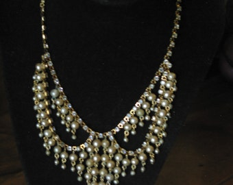 """Gorgeous Vintage Rhinestone And Faux Pearl Necklace 16"""""""