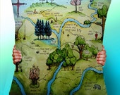 winnie the pooh 100 acre wood Map - Cushion / Pillow Cover / Panel / Fabric