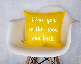 Handmade Decorative Printed Pillow Cover, I love you to the moon and back, Cushion, Natural Flax Linen, Perfect Gift, Throw