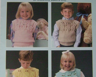 "VINTAGE ""Quick-to-Knit""  Animal Vests Instruction Booklet"