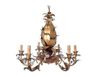 1950s Italian Gilt Pineapple Chandelier