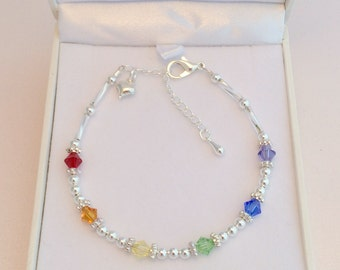 Multi Coloured LGBTQ Bracelet with Gay Pride Colours and Heart Charm