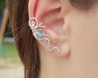Pierced silvering Ear Cuff - ar deko/boho style - Mrija