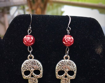 Sugar Skull and Rosebud Earrings