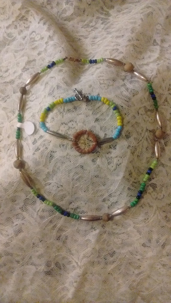 "Native American Bead, Bean, Silver, Leather19"" Necklace and Dream Catcher 8"" Bracelet"