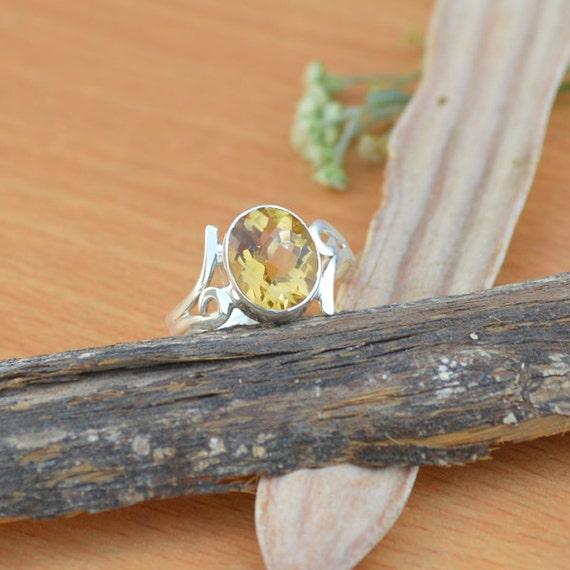 Citrine Ring, Silver Ring, November Birthstone Ring, Birthday Ring, Luck Energy Ring, Healing Ring, 925 Sterling Silver Bezel Ring Size 9
