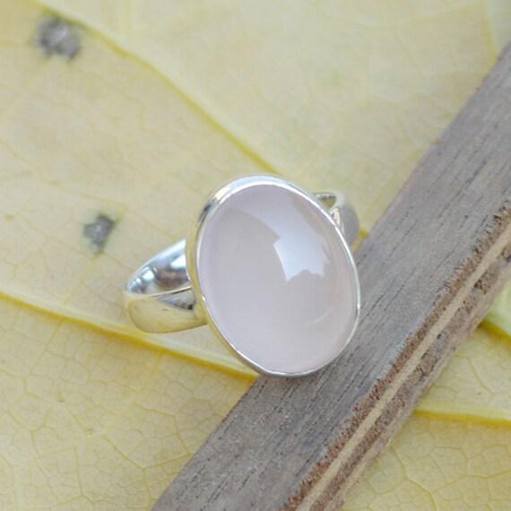 Genuine Rose Quartz Gemstone 925 Sterling Silver Designer Gift Ring Size 7 Jewelry, Birthstone Ring, Unique Gift Jewelry, Wedding Gift Ring