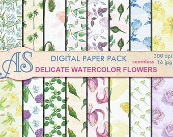 Digital Delicate Watercolor Flowers Seamless Paper Pack, 16 printable Digital Scrapbooking papers, Digital Collage, Instant Download, set155