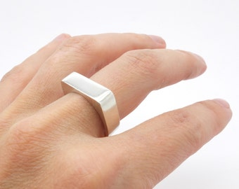 geometric square silver ring, silver box ring, urban silver ring