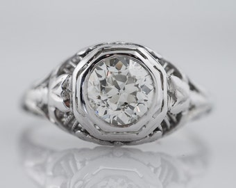 Antique Engagement Ring Art Deco .78ct Old European Cut Diamond in 18k White Gold