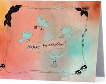 Happy Birthday Birds Card - Set of 10