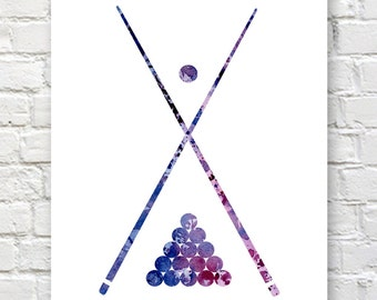 Billiards Art Print - Abstract Watercolor Painting - Wall Decor