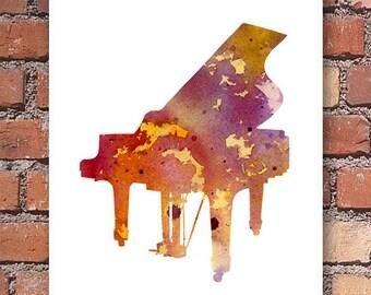 Piano Art Print - Abstract Watercolor Painting - Music Wall Decor