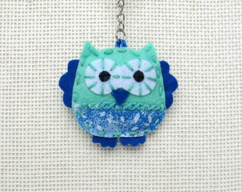 Handmade  mint and blue  owl bag charm or keyrings