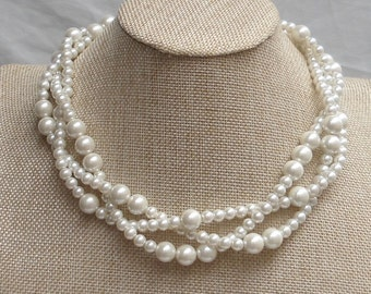 Ivory Pearl Necklace,Wedding necklace,Glass Pearl Necklace,Triple  Pearl Necklace,Wedding Jewelry,Bridesmaid necklace,Ivory pearl necklace,