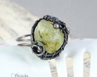 Phrenite copper adjustable ring, statement ring, raw jewelry by POCIECHA JEWELRY