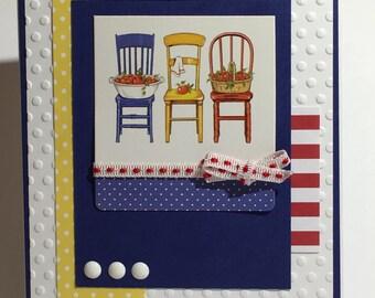 Chairs, Apples, notecards, blank, embossed