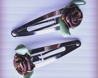 Brown and Gold Rose Floral Silver Snap Clip Set