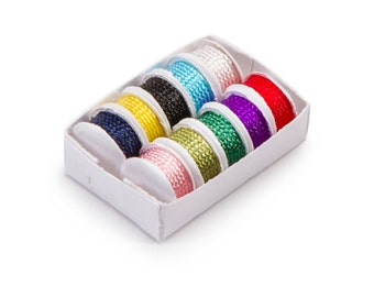 Miniature Sewing Trims Dollhouse Supply Miniature Craft Supplies Ribbon Box Embellishment Buttons 1:12 Scale - 339