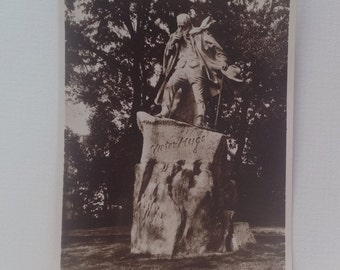 Old Postcard Victor Hugo Statue Candie Gardens Guernsey Real Photo Unposted