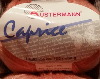 Austermann Caprice mohair blend yarn, four full skeins made in Italy 105 meters each coral pink color