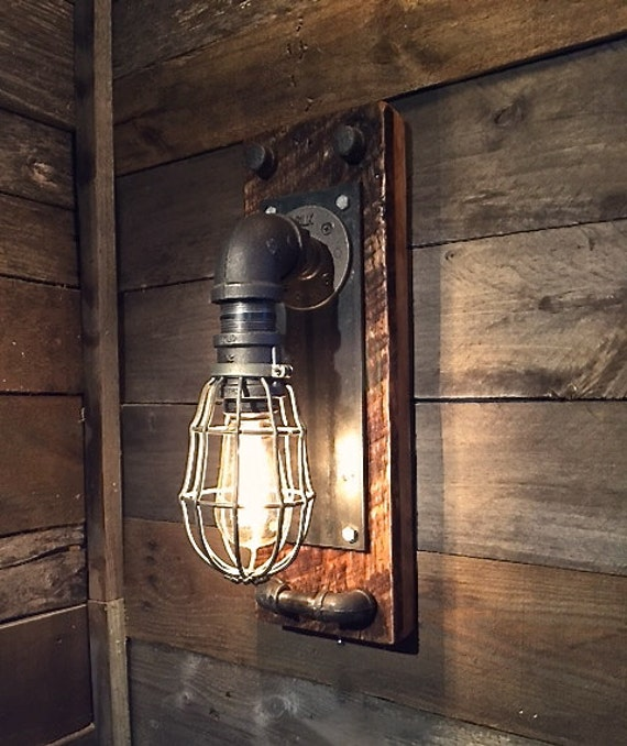 Industrial Iron Wall Sconces : black iron industrial wall sconce Edison bulb fixture black