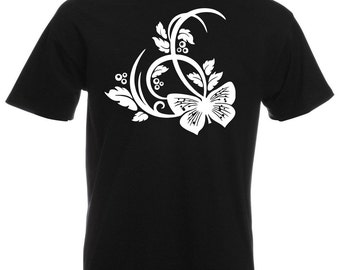 Mens T-Shirt with Beautiful Butterfly Design / Butterflies Shirts / Nature Abstract Shirt + Free Random Decal Gift