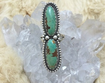 Double stack turquoise ring size7