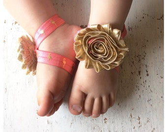 Barefoot sandals; baby barefoot sandals; gold flamingo sandal ; toddler barefoot sandal; sandal