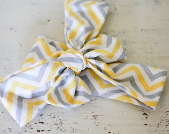Baby headband; Rosie Wrap-headwrap; yellow grey chevron fabric head wrap; newborn headband; baby headband; toddler headband; adult headband;