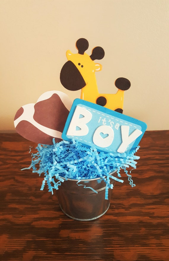 Items Similar To Baby Shower Centerpiece Blue Giraffe