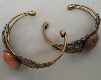 Bracelet, Antique bronze with natural stone cabochaun