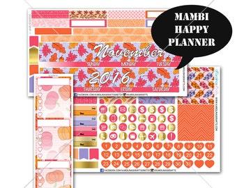 Pink Autumn MONTHLY Planner Kit  / Happy Planner Stickers / Mambi Stickers / Monthly Sticker Kit #SQ00630-MHP