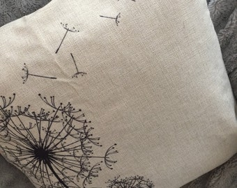 Dandelion pillow cover, burlap pillow cover, 18 x 18