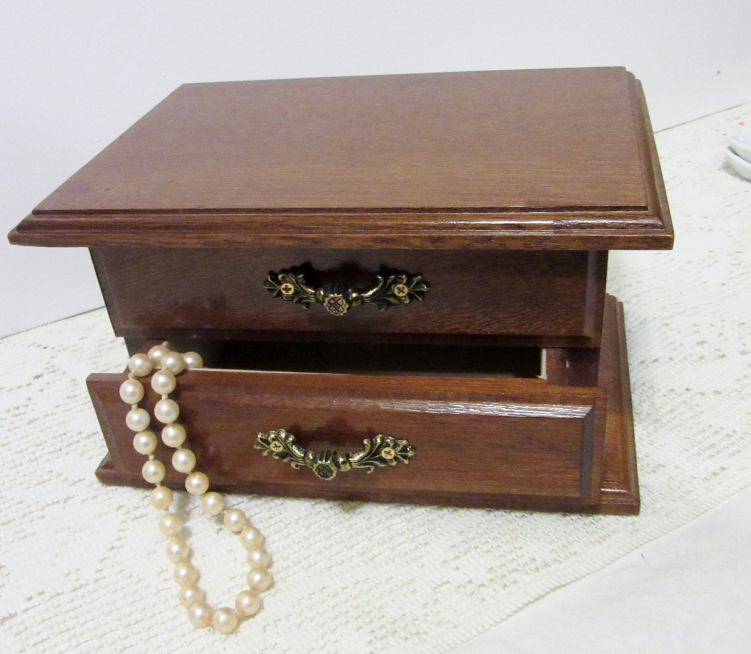 Wood jewelry box drawer mirror cottage chic vintage for Mirror jewelry box