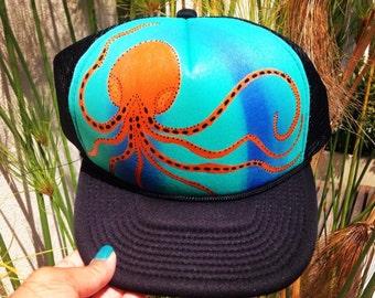 Hand painted octopus trucker hat
