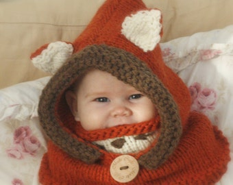 Fox hooded cowl Rene KNITTING PATTERN in baby, toddler, child and adult sizes (in English, French and Spanish)