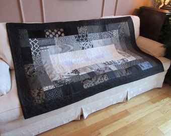 Dramatic Handmade Sofa / Lap Quilt  / Throw / Blanket in Blacks, Greys, Creams and Whites