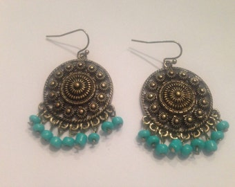 Gold and Turquoise Chandelier Earrings Dangle Costume Jewelry