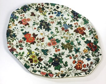 Vintage Large Daher Chintz Tray, Vintage Cottage Floral Serving Tray Made in England