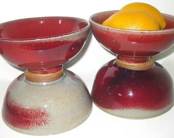 Vintage Sang de Boeuf Oxblood Color Chinese Bowls