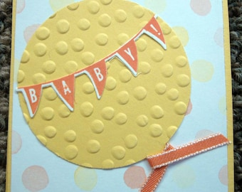 Handstamped Mini Card For Baby Gift in Yellow and Orange, Featuring Balloon and Baby Banner
